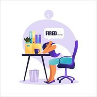 Professional burnout syndrome. Illustration with tired woman office worker or freelancer sitting at the table. Frustrated worker, mental health problems. Vector illustration in flat.