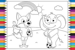 coloring animal cartoon for kids vector