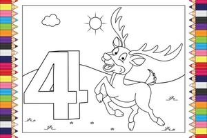 coloring animal cartoon with number for kids vector