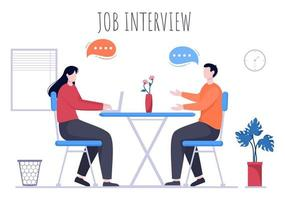 Job Interview Meeting, Candidate and HR Manager. Idea of Employment and Hiring, Business Man or Woman at Table, Vector Illustration For Conversation, Career, Human Resource Concept