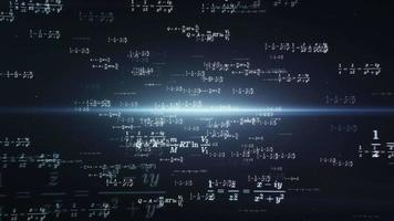 Computer animated mathematics and physics formulas flying through abstract digital space video