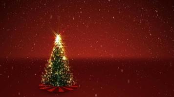 animation d'un sapin de noël décoré brillant avec de la neige et un fond festif rouge video