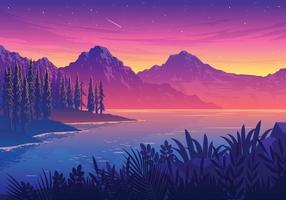 Sunset Lake Landscape Illustration vector