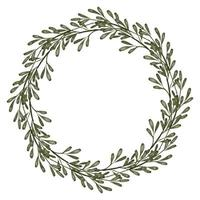 watercolor greenery leaf floral circle wreath border vector