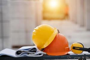 Close-up helmet in the construction site photo