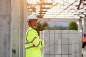 portrait engineering and construction  in the construction site photo