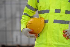 Helmet uniform worker in the construction photo