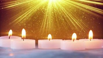 Christmas decorations and stardust in light beams loopable video