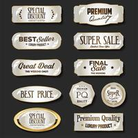 Luxury gold and brown badges and labels collection illustration vector