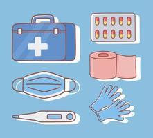 medicaments and first aid kit vector