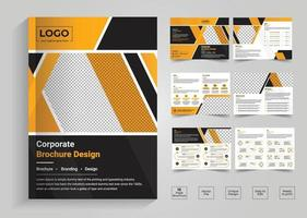 Minimal and clean geometric design of 12 page yellow color template for brochure, magazine, catalog or company report. A4 size,8 pages business company profile brochure vector