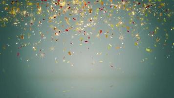 Glowing confetti fall seamless loop video