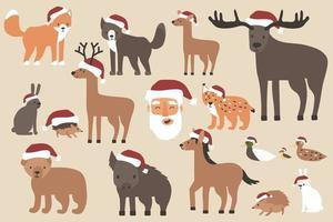 Set of Christmas forest animals in Santa hats, Santa Claus happy face. Cartoon isolated vector fox, wolf, bear, bear cub, elk, deer, fallow deer, hedgehog, hare, duck, duckling, lynx, horse, wild boar