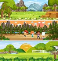 Panoramic nature landscape scene set with cartoon character vector