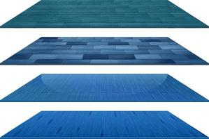 Set of different blue wooden floor tiles isolated on white background vector