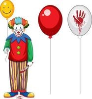 Scary clown holding balloon on white background vector