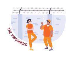 prisioneros en la composición del patio vector
