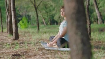 Asian girl doing yoga in the morning in the garden by the beach video