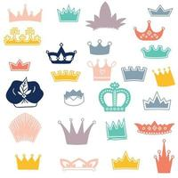 Different type of royal crown icons vector