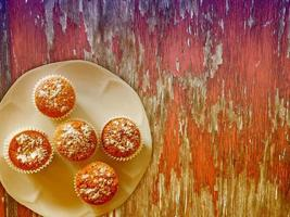 Sweets On The Wooden Background photo