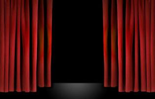 elegante escenario de teatro con cortinas de terciopelo rojo foto
