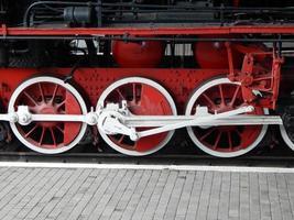 Railway transport details of locomotive, wagon photo