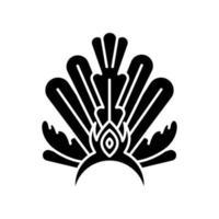 Brazilian carnival headwear black glyph icon vector