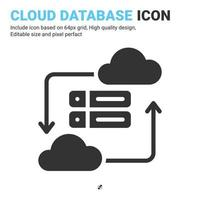 Cloud database icon vector with glyph style isolated on white background. Vector illustration data server sign symbol icon concept for digital IT, logo, industry, technology, apps, web, UI and project