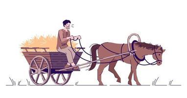 Medieval peasant riding horse cart flat vector illustration
