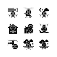 Drone restrictions black glyph manual label icons set on white space vector