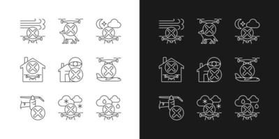 Drone restrictions linear manual label icons set for dark and light mode vector