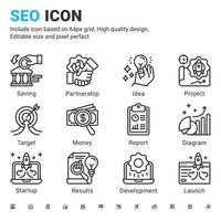Seo line vector icon set with outline style isolated on white background. illustration seo sign symbol concept for digital IT, web business, technology and search engine optimization. Editable stroke