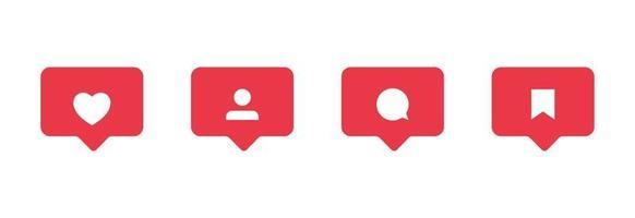 me gusta comentar compartir guardar iconos de usuario administrador para redes sociales iconos de interfaz de redes configurados para aplicaciones web y móviles instagram vector