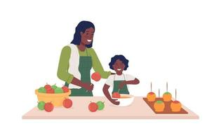 Mom with child cook semi flat color vector characters. Posing figures. Full body people on white. Making caramel apples isolated modern cartoon style illustration for graphic design and animation