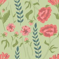 patrón sin fisuras de hierbas y flores dibujadas a mano. peonía, lilium martagon, crisantemo. vector