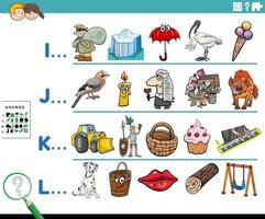 primera letra de una palabra tarea educativa para niños vector