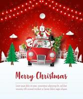 Merry Christmas and Happy New Year, Christmas postcard of Santa Claus and friend in a red car in the village, Paper art style vector