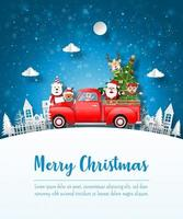 Merry Christmas and Happy New Year, Christmas postcard of Santa Claus and friend with red car in the village, Paper art style vector
