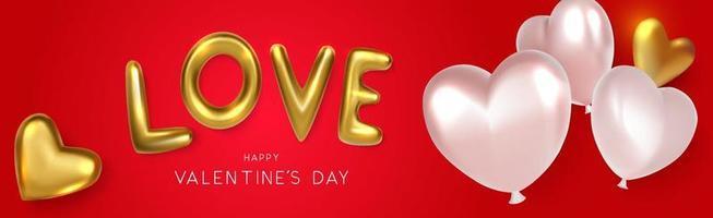 Banner de amor horizontal con globos de corazón sobre fondo rojo. vector