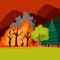 Fire in the forest. Wildfire. Vector illustration of burnt landscape, nature disaster, ecology catastrophe in flat style