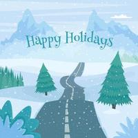 Winter road landscape. Cute vector illustration in cartoon flat style. Greeting card for winter holy. Happy holidays