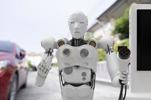 robot cyber futuro futurista humanoide industria de alta tecnología garaje ev-car cargador recarga repostar estación eléctrica transporte de vehículos transporte futuros clientes de automóviles para el transporte automotor automóvil foto