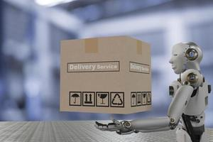 Robot cyber future futuristic humanoid hold box product technology engineering device check, for industry inspection inspector transport maintenance robot service technology 3D rendering photo