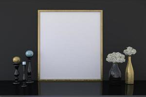 Empty golden photo frame mockup with flower vases