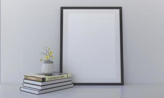 Photo frames mockup on the white shelf with books
