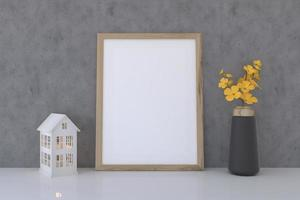 Blank Frame Mockup With Flower Vase And Playhouse photo