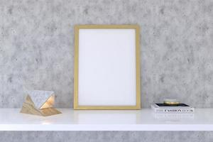 Wooden Frame Mockup with decor on shelf photo