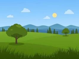 Meadow in Sunny Day vector