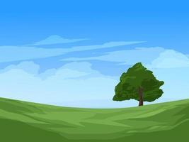 Tree in Meadow Landscape vector