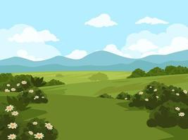 Field Landscape with Flowers vector